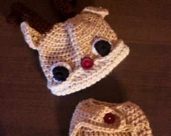Infant Rudolph Diaper Cover Set, Christmas Diaper Cover Set, Baby Diaper Cover and Hat, Rudolph Hat, Crochet Diaper Cover Set