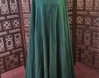 Forest Green 3/4 Circle Wool Cloak with Brass Clasp Renaissance LOTR Medieval SCA Cosplay OOAK Long Length
