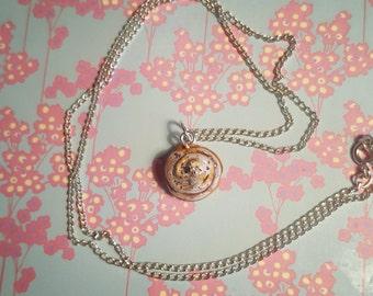Handmade clay/ painted iced cinnamon bun/ cinnamon roll necklace
