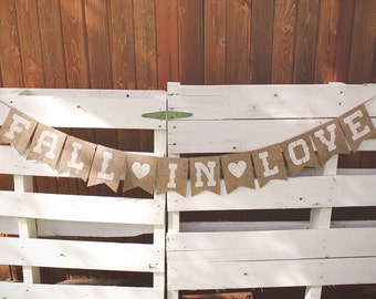 Fall In Love Sign, Fall In Love Banner, Fall Wedding Decor, Fall Wedding Banner, Fall Wedding Burlap Banner, Rustic Fall Wedding Banner