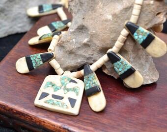 Native American Bone and Turquoise Thunderbird Necklace, Rare Early  Santo Domingo (Kewa) Pueblo