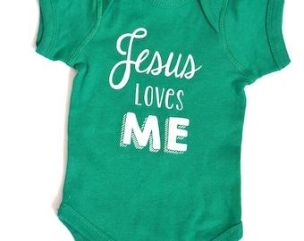 Jesus Loves Me Onesie - Green Baby Onesie