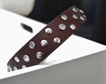 Brown Leather Dog Collar with Studs & Rhinestone