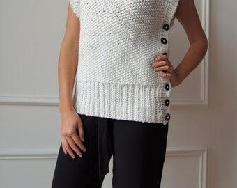 handmade white sweater, vests, Wool Turtleneck Sweater Turtleneck, sweater vest, sweater for her gift, knitting, knitting