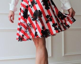 Striped satin skirt and fancy skirt, skirt, skirt half wheel fashion, latest fashion,