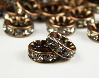 10 Pcs - 10mm Czech Crystal Rhinestone Rondelle Beads - Copper - Spacer Beads - Czech Beads - Jewelry Supplies
