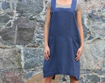 LINEN PINAFORE DRESS - criss cross apron / linen apron dress  / linen apron / No-ties Apron / Washed long linen apron