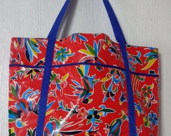 BEACH BAG REVERSIBLE (oil cloth)