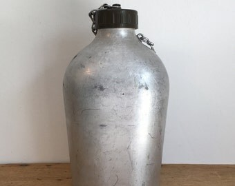 Vintage French Aluminium Army Bourgeat Water Bottle / Flask