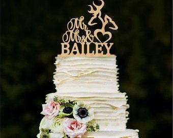 Mr Mrs Wedding Cake Topper Deer Cake Topper Wooden Last Name topper