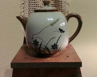 Vintage Xochiquetzal Teresa Duran Butterfly Teapot - Mexican Pottery - Tonala (1970s)