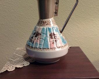 Vintage Chiller Ceramic Pitcher - Pink, Blue, Brown - Textured  (1950s)