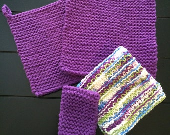 Hand Knitted Cotton Pot Holder, Cast Iron Handle Pad, and Dish Cloth Set, Purple Pot Holder and Dish Cloth Set