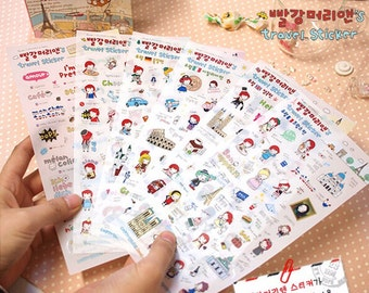 Anne's Cute Travel Stickers / Travel Planner Stickers (6 sheets) / Cute Stickers / Korean Stationery / Cute Diary Sticker / Kawaii Stickers
