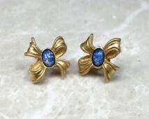 Bow Studs, Vintage Avon Earring, Blue Avon Earring, Vintage Bow Earring, Vintage Blue Lucite, Lucite Earring, Confetti Lucite, Avon Stud