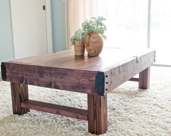 Rustic Coffee Table, Farmhouse Coffee Table, Rustic Industrial Coffee Table,  Wood Coffee Table