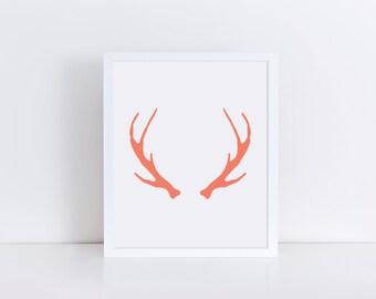 Antler Art, Coral Antlers Print, Deer Antler Wall Art, Deer Art, Deer Print, Deer Wall Art, Antlers Wall Art, Antler Print, Printable Art