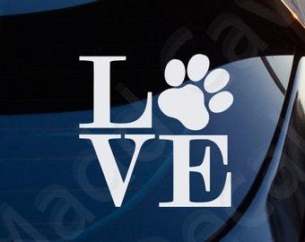 Love Dogs Paw Print Decal Car Window Laptop