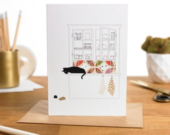 Cat and Mouse Card / Fairy Tale Card /Greeting Card/ Hand Made Art Card