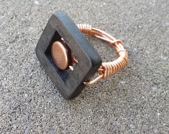 Wood & Copper Ring (Size 6)