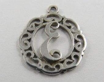 "Initial ""E"" Silver Charm of Pendant."