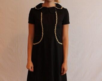 Vintage Black Mod 60's Dress with Daisy Applique  and Petal Collar, Handmade