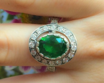 Emerald Ring, Antique Ring, Vintage Ring, Antique Emerald Ring, Antique Rings, Sterling Silver Ring, Green Vintage Ring