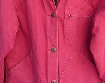 L.L. Bean Barn Coat Chore Work Jacket LARGE Petite Womens VINTAGE Button-In Wool Blend Liner Corduroy Collar Cuffs Red 6b5E