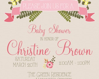 Graceful Chic Floral - Baby Shower Invitation - with Custom Text Back!