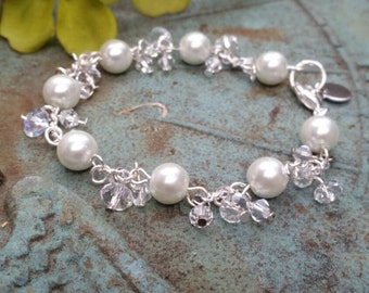 Glass pearl's and silver chain bracelet with charm for custom hand stamped letter