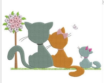 "Cute Cat family machine embroidery download  4 different sizes(8X6""  8X5""6X4 4x4 "")"