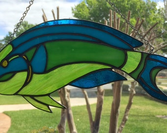 Parrotfish Stained Glass Suncatcher Window Decor Fish Ocean Life Handcrafted