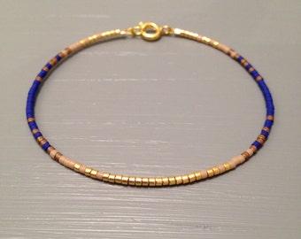 Tiny Bracelet simple bracelet Blue Ombre Bracelet