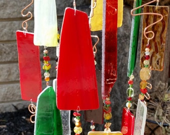 Stained Glass, Art Glass Wind Chime and Sun Catcher with Copper Top and Copper Accents