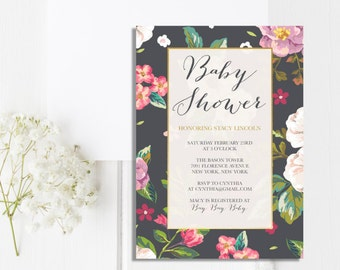 Baby Shower Invitation Printable Gender Neutral Baby Shower Invitation Baby Girl Shower Baby Boy Shower Invite FLORAL NAVY SHOWER Invitation