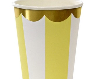Yellow Striped Party Cups