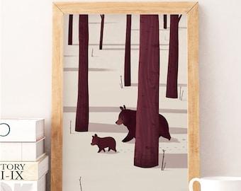 Bear art print, Forest print, Nursery decor, Nursery wall art, Kids room art, Baby room decor, Baby room wall art, Art for kids, Cub bear