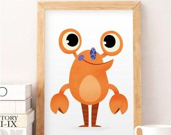 Nursery wall decor, Silly monster art, Cute monster print, Kids room decor, Cute wall decor, Wall print, Nursery prints, Whimsical art