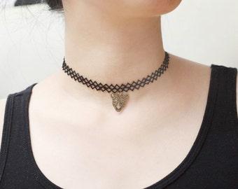 Cheetah Choker, Leopard Lace Choker, Animal Choker, Zigzag Choker, Young Girls Jewelry, Unique Black Necklace