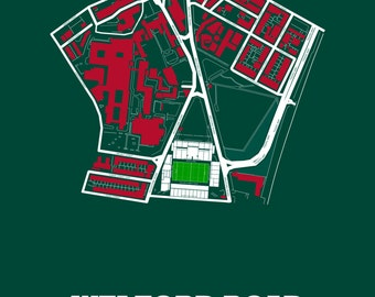 Leicester Tigers RFC Full Green - map art