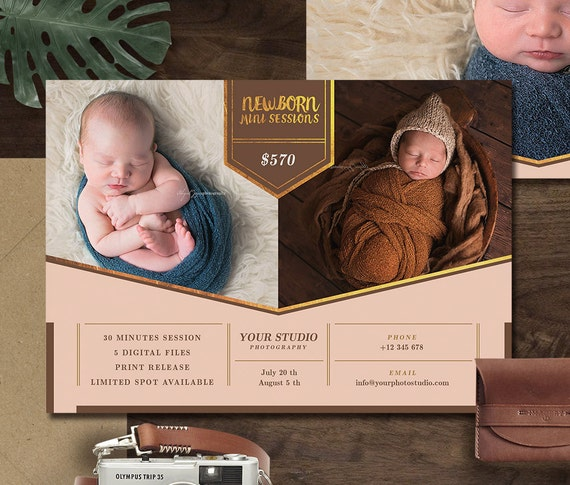 Newborn Mini Session Template for Photographer, Newborn Photography Templates for Baby Boy & Baby Girl, Newborn Photography Marketing, MS005