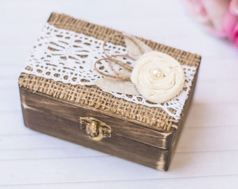 Wedding Ring Box Bearer Rustic Wedding Ring Box Rustic wedding Ring Pillow