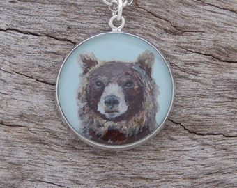 Hand Painted Brown Bear Pendant