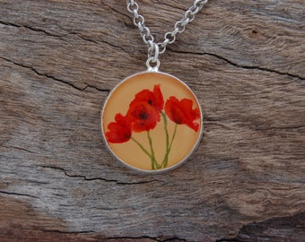 Hand Painted Poppies Pendant