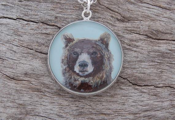 Hand Painted Brown Bear Pendant