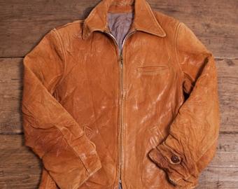 Womens Vintage 1940's Kwik Zipper 'Original Harriswear' Leather jacket XS R2878