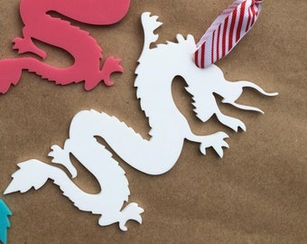 Acrylic chinoiserie Christmas ornaments white Dragon