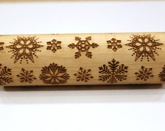 SNOWFLAKE 1 Engraved Embossed Rolling Pin, Dough Roller, Embossing Rolling Ping, Christmas Gift, Christmas Pattern Roller