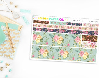 Vintage Beauty // Washi Strips (Planner Stickers for Erin Condren Vertical and MAMBI The Happy Planner)