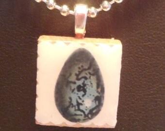 Blue Spotted Egg Scrabble Pendnt, Egg, Blue, Scrabble Necklace, Scrabble, Pendant, Jewelry, Necklace
